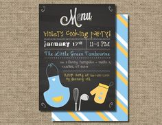 Kids Cooking Birthday Party invitation Kids by TheWrightInvite