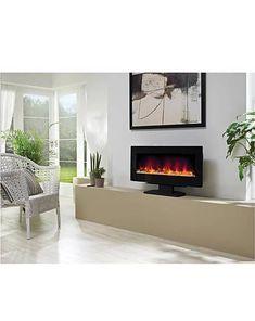 Be-Modern-Amari-38-2kW-Black-Glass-Remote-Control-Electric-Fire-148768 Modern Electric Fires, Inset Electric Fires, Triple Wardrobe, Floor Space, Black Glass, Remote, House Design, Flooring, Contemporary
