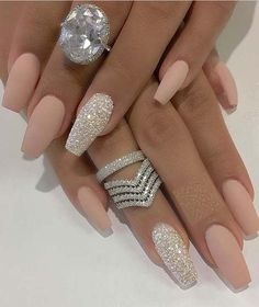 42 Beautiful Nail Arts & Fantastic Ring Designs for 2018 - M.- 42 Beautiful Nail Arts & Fantastic Ring Designs for 2018 Nail Art - Nail Design Glitter, Cute Acrylic Nail Designs, Best Acrylic Nails, Glitter Nail Art, Nails Design, Matte Nails, Pink Glitter, Painted Acrylic Nails, Nude Nails With Glitter