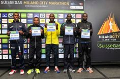 Presentazione top runners Milano City Marathon      presentazione top runners Milano City Marathon  nella foto: da sn, Giovani Dos Santos, Gemenku Worku Biru, Richard Kipkemei Limo, William Kipsang Rop, Stephen Kosgei Kibet    Gian Mattia D'Alberto / lapresse  06-04-2013 Milan  Milano City Marathon top runners presentation  in the photo: from L, Giovani Dos Santos, Gemenku Worku Biru, Richard Kipkemei Limo, William Kipsang Rop, Stephen Kosgei Kibet  LaPresse — a Milano.