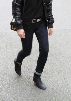 Nike destroyer, Saint Laurent lulu bag & Isabel Marant dicker boots. Via Mija