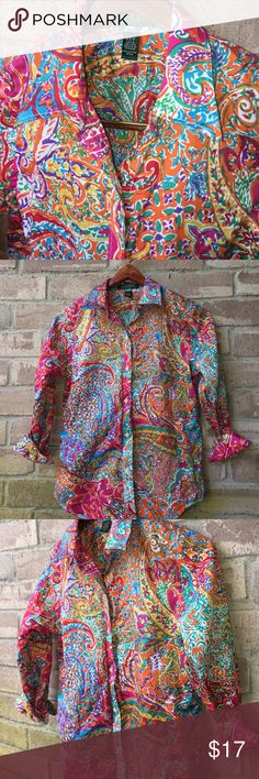 Bright colors mixed pattern button down 🌸petite🌸 Bright colors mixed pattern button down 🌸petite🌸. New without tags. Tiny Thrift store ink dot on label. See picture. Lauren Ralph Lauren Tops Button Down Shirts