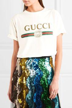 Gucci | Appliquéd distressed printed cotton-jersey T-shirt | NET-A-PORTER.COM