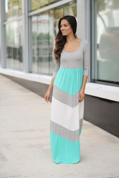 Mint and Gray Chevron Maxi Dress