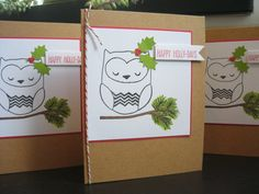 Owl Christmas Cards Set of 3 Recycled Kraft Paper by apaperaffaire, $7.00