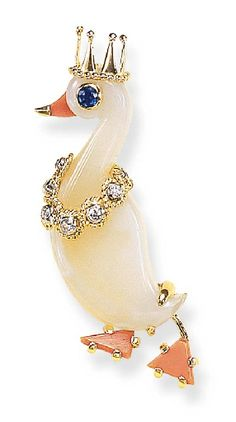 Agate, Coral, Sapphire and Diamond Duck Brooch, Cartier
