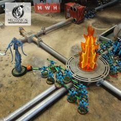 Necrons traveling through pipe works terrain from mechanical warhorse. Featured is our exhaust kit. Game Effect, Wargaming Terrain, Traveling, Miniatures, Kit, Model, Viajes, Travel