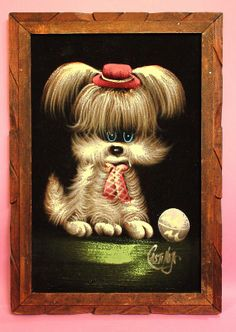 Vintage 60s Mod Puppy Black Velvet Painting Kitsch Adorable Home Decor Collectibles For Her Girl Bedroom Decor Wall Hanging Gift on Etsy, $21.75