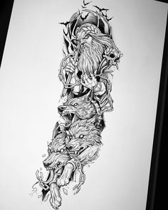 Evil Tattoos, Badass Tattoos, Leg Tattoos, Body Art Tattoos, Tattoos For Guys, Animal Tattoos, Viking Tattoo Sleeve, Tribal Sleeve Tattoos, Best Sleeve Tattoos