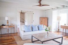 Neutral palette in living room of summer cottage | Remodelista