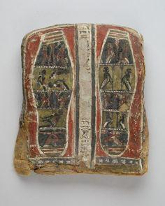 Egyptian ArtSoles of feet showing bound prisonners from a cartonnage via Egyptian Art Medium: Linen, gesso, paint