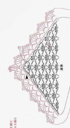 "Chal ""asahi rose motif shawl and stole"", ""from asahi crochet. Afghan or table runner edge border. Poncho Crochet, Bonnet Crochet, Crochet Shawls And Wraps, Crochet Scarves, Crochet Clothes, Crochet Lace, Crochet Stitches Chart, Crochet Motifs, Crochet Diagram"