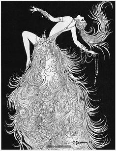 Art deco sketch by Gesmar of showgirl, 1926