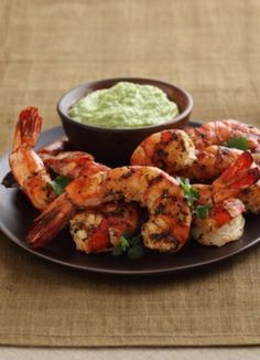 Grilled Cilantro-Lime Shrimp with Spicy Hass Avocado Puree