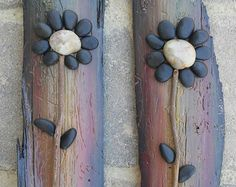 Pebble Art (Set of two matching reclaimed wood pieces) displaying cute black flowers by CrawfordBunch on Etsy Stone Crafts, Rock Crafts, Arts And Crafts, Art Rupestre, Wal Art, Deco Nature, Black Flowers, Driftwood Art, Pebble Art