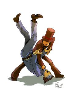 Professor Layton vs. Phoenix Wright by spacecoyote.deviantart.com on @DeviantArt