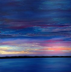 """Twilight, Sunset over Water, Landscape, skyscape, water, ocean, lake, sunset, night sky, colorful, dark blue, pink sky abstract painting. Extra large canvas, acrylic, 48"""" x 48"""". Image wraps around edges. Original artwork, one of a kind by award-winning Ithaca artist Ivy Stevens-Gupta."""