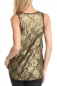 Lace Tank In Gold. I have a tank top, and long sleeve shirt like this