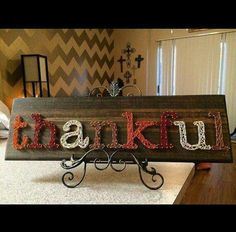 Thankful String Art Ready to ship by StringsbySamantha on Etsy Fall Crafts, Holiday Crafts, Crafts To Make, Diy Crafts, Holiday Ideas, Christmas Diy, Craft Day, Craft Night, Hilograma Ideas