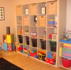 54 Enchanting Toy Storage Design Ideas For 2019 Toy Room Storage, Storage Spaces, Large Toy Storage, Easy Storage, Toy Storage Solutions, Ikea Expedit, Kallax 5x5, Playroom Organization, Organized Playroom