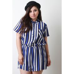 Plus Size Striped Button-Up Short Sleeve Romper   UrbanOG ($33) ❤ liked on Polyvore featuring jumpsuits, rompers, plus size romper, striped romper, short sleeve romper, playsuit romper and short sleeve rompers
