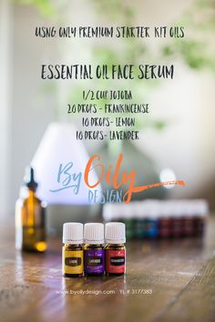 The DIY All Natural Essential Oil Face Serum recipe that rocked my world. Kissing my wrinkles good by. Made with only Premium Starter Kit oils and carrier oil. byoilydesign.com