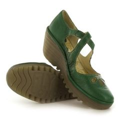 Fly London Yate Green Leather Womens Shoes