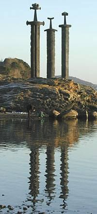 """If we could, probably on our way to Ireland, I would love to go through Stavanger as well. """"The three swords monument (Sverd i Fjell) at Hafrsfjord, Stavanger, Norway"""" Places Around The World, The Places Youll Go, Places To See, Around The Worlds, Oslo, Alesund, Lofoten, Stavanger Norway, Beautiful Norway"""