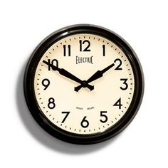 Black 50's Electric Wall Clock  Newgate Clock  www.theroyalgallery.co.uk/index.php?location=item&item=403&art=Clocks&source=2