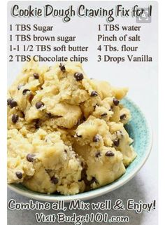 Cookie Dough Craving Fix- eggless mix, so grab a spoon & Eat up! Got a craving for cookie dough? When your sweet tooth kicks in & you don't feel like baking, here are 3 delicious safe tried-n-True raw edible cookie dough Mug Recipes, Sweet Recipes, Baking Recipes, Dessert Recipes, Healthy Desserts, Easy Healthy Snacks, Healthy Midnight Snacks, No Egg Desserts, Eggless Desserts