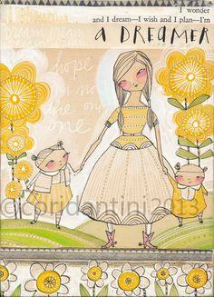 Motherhood - a whimsical watercolor painting of a mother with her daughters - an archival limited edition 8 x 10 inch print - by cori dantini