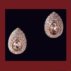 Let's Get Vintage - Earrings - Elegant finest quality Swarovski pave clear crystal earrings. Signed WITH THE SWAN LOGO - Vintage Costume Jewelry