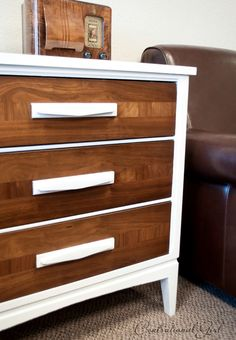 chest detail wood drawers-Pinned from Centsational Girl. Love white and wood. Comes with a nice how to.
