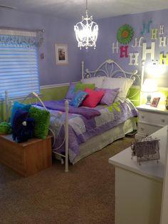 Purple and lime green girl room