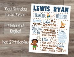 Printable Birthday Facts ~ Its great to be 8 baptism photo and facts display poster