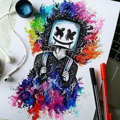 Wow amazing art work by And please help me with like comment and share for more . Amazing Drawings, Cute Drawings, Amazing Art, Marshmallow Pictures, Musik Wallpaper, Marshmello Wallpapers, Rainbow Drawing, Rainbow Galaxy, Joker Wallpapers