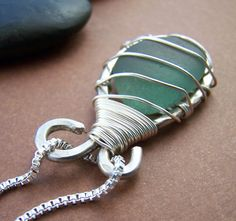 Caged Necklace Sterling Silver Wire Wrapped by StoneStreetStudio, $79.00