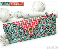 Fabulous Fabric Wallet: Double Bill Pockets, Six Card Pockets & Zippered Coin Pocket Bag Pattern Free, Wallet Pattern, Tote Pattern, Pattern Sewing, Purse Patterns, Fabric Wallet, Fabric Pen, Fabric Bags, Sewing To Sell