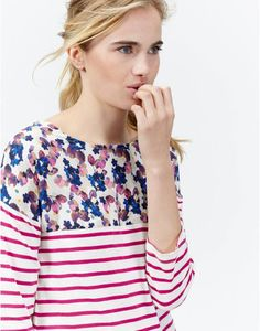 PIP Womens Jersey Striped Top with floral print