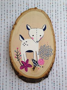 Navy and Pink Fawn Wood Slice, Woodland Themed Girl Nursery Wall Decor, Painted Deer Forest Children's Room Art by AnchorAndSpruce on Etsy