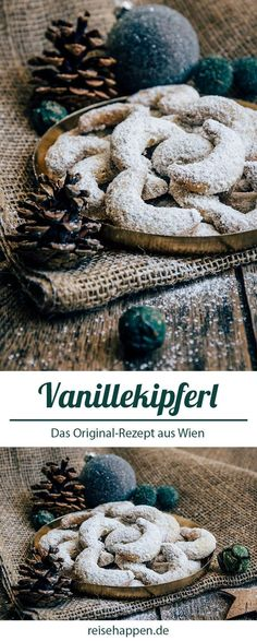 Vanilla Kipferl - Christmas Cookies Original Recipe from Vienna Austrian Desserts, Italian Desserts, Italian Recipes, Christmas Treats, Christmas Cookies, Biscuits, Cake Recipes, Dessert Recipes, Dinner Recipes