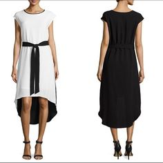 Sharagano Colorblock Crepe Dress Fabulous colorblock high-low dress from Sharagano .  Ivory front , black back , black belt , lining .  Crepe material , rounded neckline , cap sleeves .  Made of 96% polyester/4% spandex .  Lining made of 100% polyester .  Machine wash/dry or dry cleanable .  ✨Worn/washed one time - excellent condition✨ Sharagano Dresses