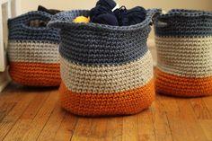 Bernat Mega Bulky #crochet Cache Baskets by The Sweatshop of Love