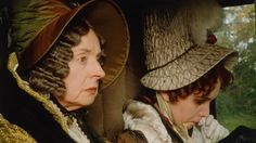Pride and Prejudice  1995; Lady Catherine de Burgh and her poor daughter Anne...but look at the hat Anne is sporting!!!  Love it!    http://periodmovies.blogspot.com/2007/05/lady-catherine-de-burghs-outfits.html