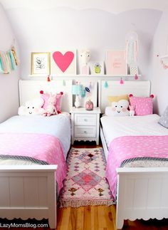 Creating a happy home- my decor cheat sheet Girls Bedroom Decor Twin Girl Bedrooms, Sister Bedroom, Shared Bedrooms, Little Girl Rooms, Baby Bedroom, Small Shared Bedroom, Bedroom Girls, Girl Nursery, Girl Bedroom Designs