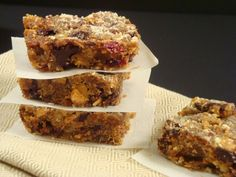 The recipe for these bars is one my favorites from Nourished. They make a healthful addition to your repertoire of holiday cookies as well as great bars for snacking. Wrap them in parchment paper and then in foil to use as a portable lunchbox treat, much less expensive than purchased protein bars.