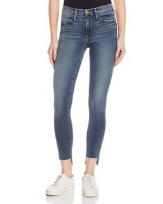 FRAME Le High Skinny Raw Stagger Jeans in Woodhaven Women - Jeans   Denim -  Bloomingdale s 1a23a1390