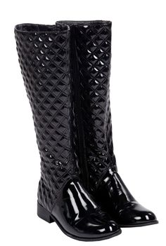 Black quilted boot R599