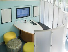 Study pod in Edinburgh University library, designed to encourage group work. The…