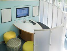 Study pod in Edinburgh University library, designed to encourage group work. The…